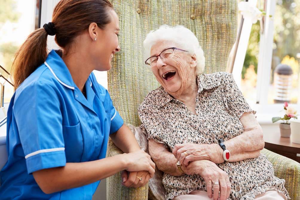 A nurse with an elderly woman.